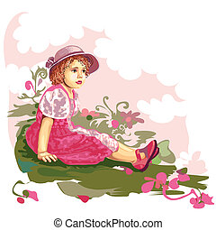 kwiat, łąka, dziecko