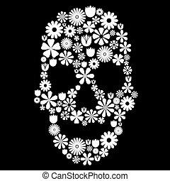 kwiat, czaszka