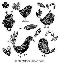 kwiat, doodle, sylwetka, komplet, czarny ptaszek