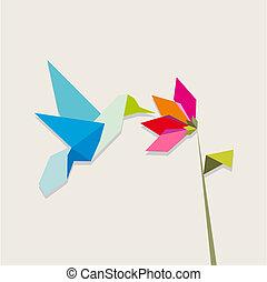 kwiat, hummingbird, origami, biały