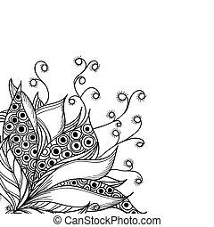 kwiat, kaprys, czarnoskóry, szablon, biały, karta