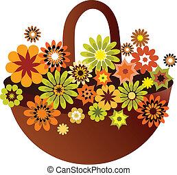 kwiat, karta, wiosna, ilustracja, wektor, kosz
