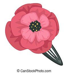 kwiat, ozdoba, dodatkowy, spinka do włosów, włosy, mak, samica
