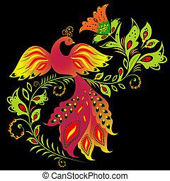 kwiat, ptak, barwny