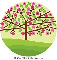 kwiat, skoczcie kwiecie, drzewo, liście