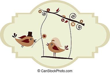kwiat, udzielanie, szambelan królewski, card;, ślub, ptak