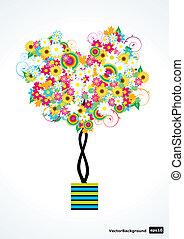 kwiat, wektor, drzewo