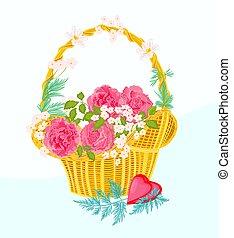 kwiat, wektor, kosz