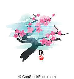 kwiat, wiśnia, drzewo., japończyk