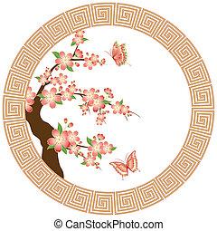 kwiat, wiśnia, tapeta, orientalny