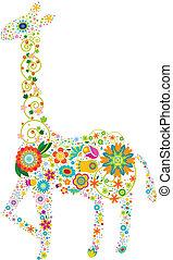 kwiatowy, żyrafa
