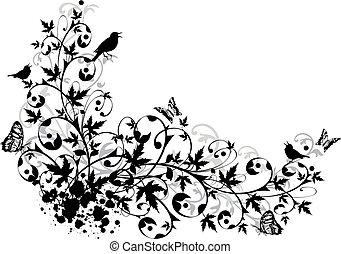 kwiatowy, abstrakcyjny, brzeg
