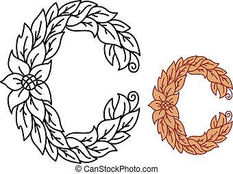 kwiatowy, b, chrzcielnica, litera, foliate