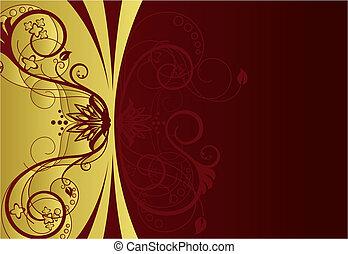 kwiatowy brzeg, projektować, czerwony, złoty