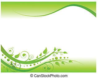 kwiatowy brzeg, zielony, ilustracja