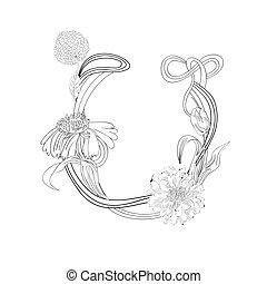 kwiatowy, chrzcielnica, u, litera