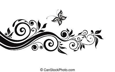 kwiatowy, czarnoskóry, brzeg
