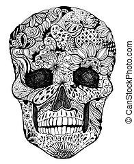 kwiatowy, czaszka