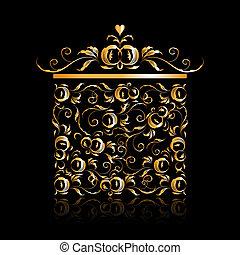 kwiatowy, dar, złoty, projektować, boks, stylizowany, ozdoba