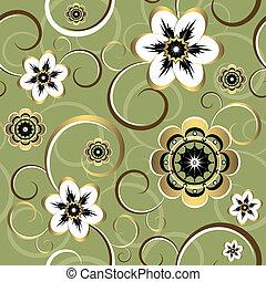 kwiatowy, dekoracyjny, seamless, (vector), próbka