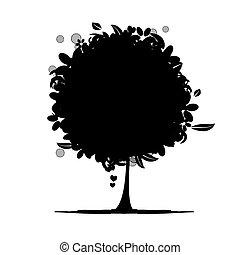 kwiatowy, drzewo, sylwetka, czarnoskóry
