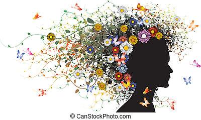 kwiatowy, dziewczyna, sylwetka