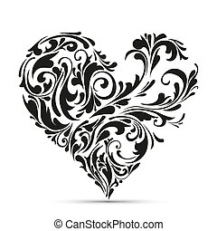 kwiatowy, heart., abstrakcyjne pojęcie, miłość