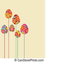 kwiatowy, jaja, wielkanoc