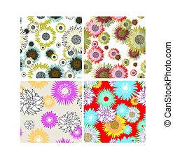 kwiatowy, komplet, tła, seamless