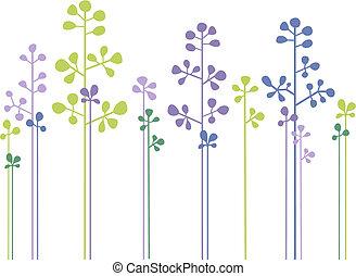 kwiatowy, las, wektor, projektować