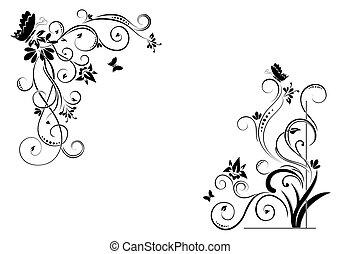 kwiatowy, motyle, tło