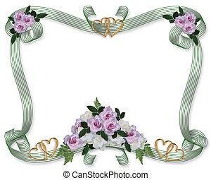 kwiatowy, róże, ślub, brzeg, zaproszenie