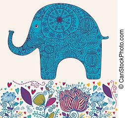 kwiatowy, słoń
