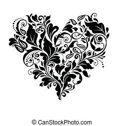 kwiatowy, serce, czarnoskóry