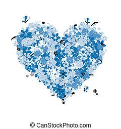 kwiatowy, serce, miłość, formułować