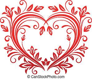 kwiatowy, serce, styl, valentine