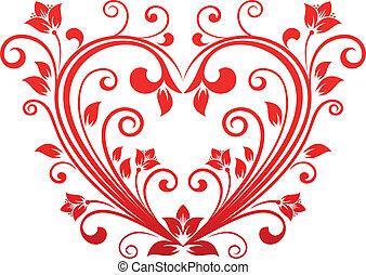 kwiatowy, serce, valentine