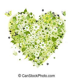 kwiatowy, sercowa forma, zielony, lato