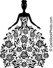 kwiatowy strój, dziewczyna, ozdoba, sylwetka