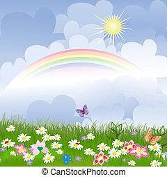 kwiatowy, tęcza, krajobraz