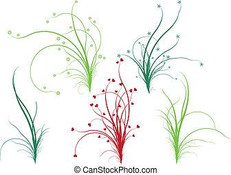 kwiatowy, trawa, wektor