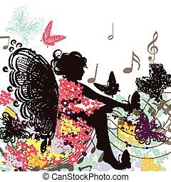 kwiatowy, wróżka, muzyka, motyle