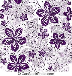 kwiatowy wzór, seamless, white-violet