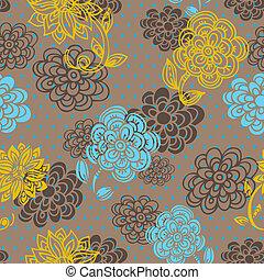kwiatowy wzór, styl, seamless, retro