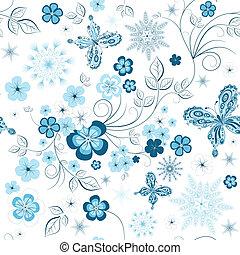 kwiatowy wzór, wielostrzałowy, zima