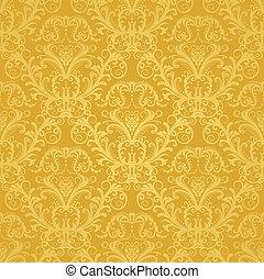 kwiatowy, złoty, tapeta, luksus