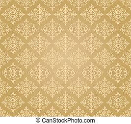 kwiatowy, złoty, tapeta, seamless