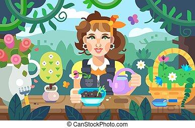 kwiaty, łzawienie, ogród, dziewczyna