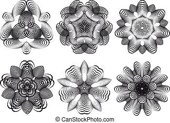 kwiaty, abstrakcyjny, wektor, geometryczny