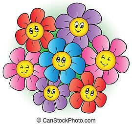 kwiaty, grupa, rysunek